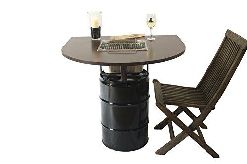 """Balkon-Grilltisch """"Balcony"""" mit integriertem Edelstahlgrill – gemeinsam Essen am Holzkohlegrill, wie beim Raclette oder Fondue mit Freunden oder der ganzen Familie"""