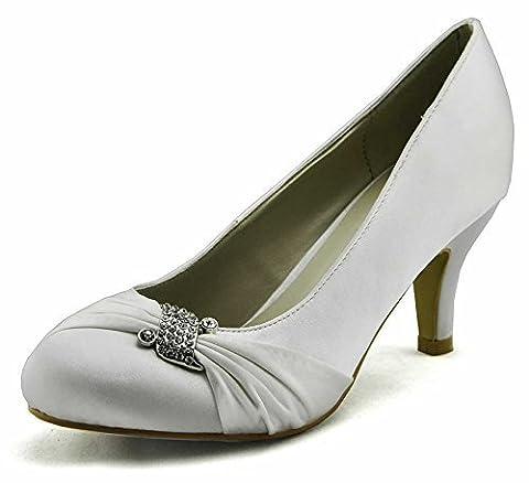 Chaussures En Ligne Pour Femmes Bridal Court Femmes Talons En Satin Party Bow Pumps New Size 3 - 8