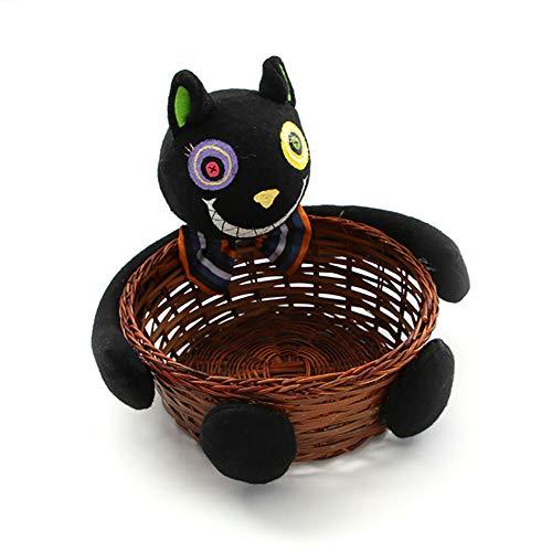 Halloween Deko Grusel Dekoration Set Halloween Süßigkeiten Keks Obstkorb Black Cat 1 Pack für Halloweendeko Make-up-Party Halloween Dekoration