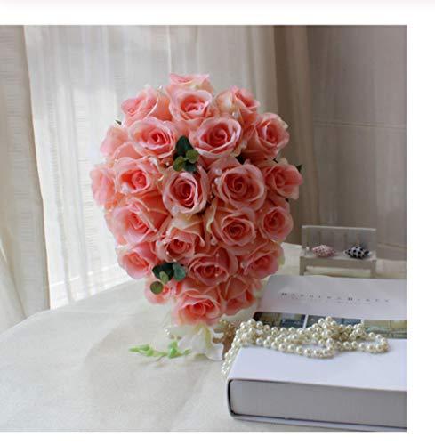 Ttzse fiori sposa accessori da sposa damigelle d'onore champagne cascata matrimonio bouquet da sposa matrimonio romantico
