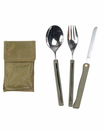 Couverts pliables 3 pièces avec étui - Vert armée - Miltec