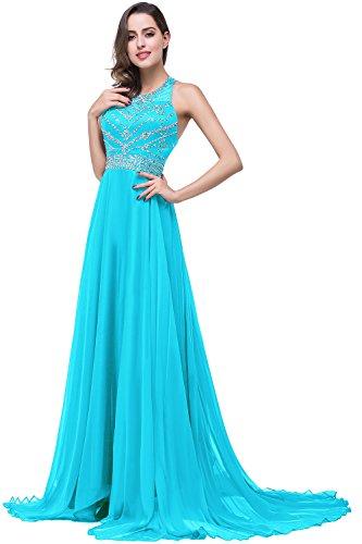 Damen Elegant Ärmellos Pailetten Ballkleid festliches Kleid Rückenfrei lang Meer Blau 46