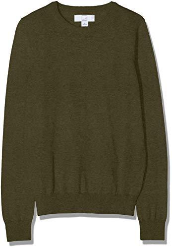 MERAKI Baumwoll-Pullover Damen mit Rundhals, Grün (Khaki), 38 (Herstellergröße: Medium)