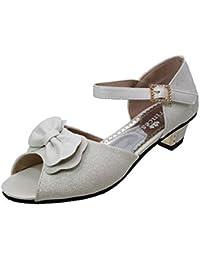 De Chica Marfil Blanco roto o plateado con Purpurina Boda Comunión Fiesta Zapatos Sandalias Tacón