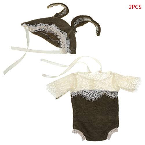 Vivianu 0-1 Baby Vollmond Hunderttage Kleidung, 20+28 cm Neugeborenenen-Kostüm für Foto-Requisiten