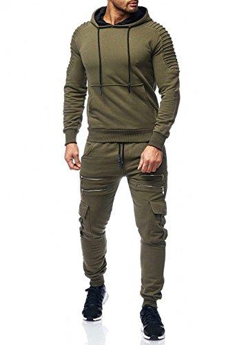 Herren Jogging Camouflage Sportanzug Jogging Army Grün XS