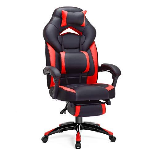 SONGMICS Gamingstuhl, Bürostuhl mit Fußstütze, Schreibtischstuhl, ergonomisches Design, verstellbare Kopfstütze, Lendenstütze, bis zu 150 kg belastbar, rot-schwarz OBG77BR