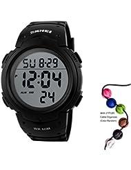 Skmei 1058Herren Frauen Herzfrequenz Monitor Schrittzähler Digital Sport Armbanduhr 50m Wasserdicht schwarz schwarz
