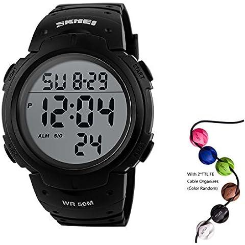 TTLIFE 1068 Mens multifunzionale Digital Outdoor Sports orologio da polso impermeabile - Cronografo Resistente All'acqua Orologio