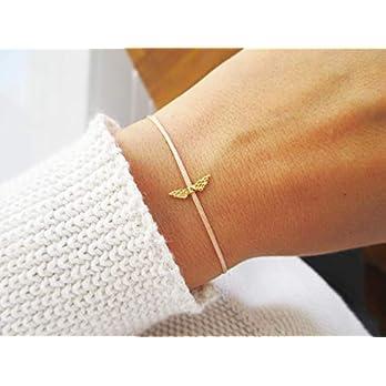 Armband mit Flügel 925er Sterlingsilber vergoldet Sternenmama Schutzengel Personalisiert Pfirsich Muttertag