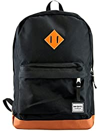 Benteng Black Premium Leather Bottom Backpack For Books, Travel And Collage School Backpack Fits For 15-Inch Laptopa...