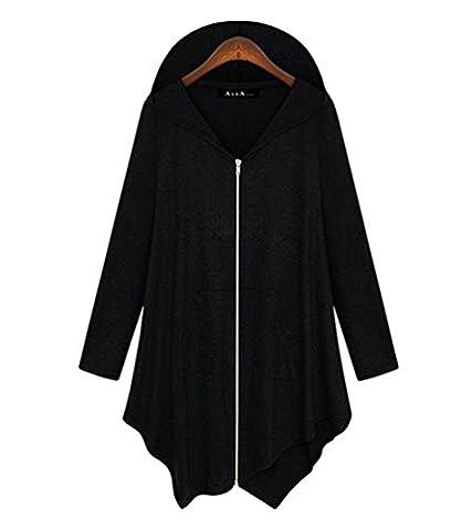 ZKOO Damen Langer Cardigan Mit Kapuze Asymmetrischer Saum Einfarbig Cardigan Reißverschlüssen Lange Trenchcoat Mantel Freizeit