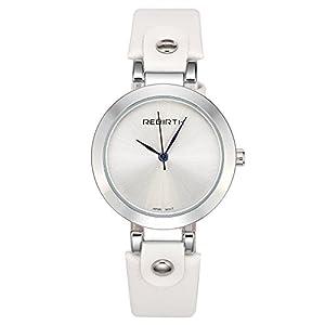 JSDDE Uhren,Vintage Damen Armbanduhr Wasserdicht Mineralglas Zeitloses Design Klassisch Echtleder Quarz Uhrwerk Uhr weiß