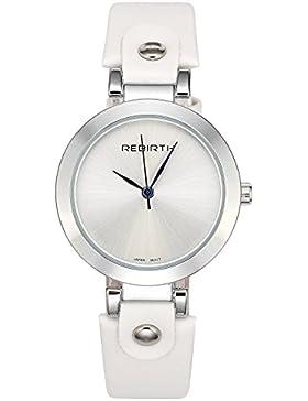JSDDE Uhren,Vintage Damen Armbanduhr Wasserdicht Mineralglas Zeitloses Design Klassisch Echtleder Quarz Uhrwerk...