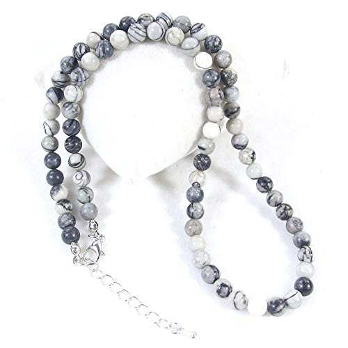 FidgetGear Halskette mit Steinperlen, 6 mm, natürliche Edelsteinperlen, 45,7 cm + 5,1 cm verstellbar, Spider Web Jasper (Web-verstellbare)