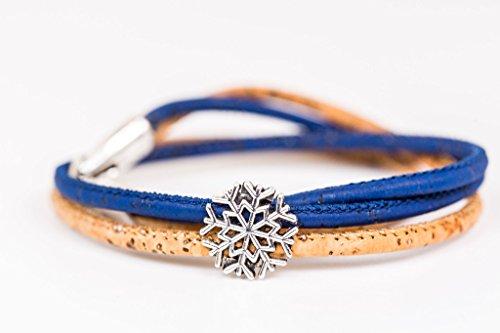 turkork in hellbraun und blau Set Ring Schneeflocke Geschenk für sie (Schneeflocke Ringe)