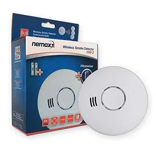 1x Nemaxx HW-2 Funkrauchmelder Rauchmelder Hitzemelder mit kombiniertem Rauch- und Thermosensor nach DIN EN 14604 - Weiss