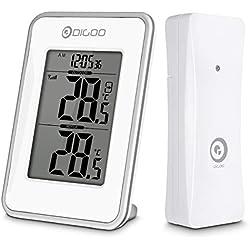 Thermomètre, horloge Digoo 1980, horloge de bureau portable, station météo avec capteur extérieur sans fil et grand écran LCD, température de lecture précise avec 1 capteur