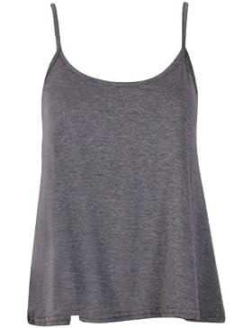Camiseta elástica de tirantes con escote en U y vuelo para mujer