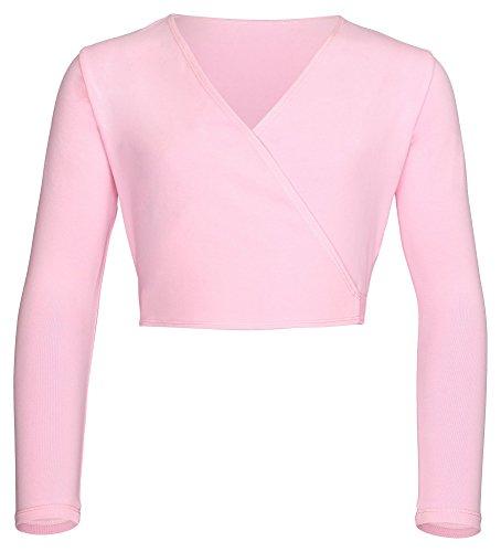 Baumwolle Lange Ärmel Wickeln (tanzmuster Kinder Ballett Wickeljacke Mandy aus extra weichem Baumwollstoff in rosa, Größe:140/146)
