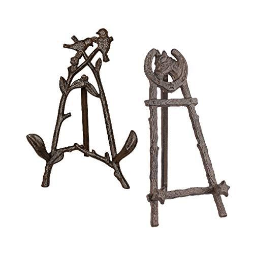 Tisch-Staffelei aus Gusseisen, antikes Braun Bird & Horse Easel Set braun
