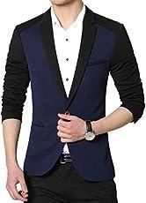 creative concepts Men's Slim fit Party wear Blazer Blue Black