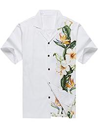Made en Hawaii Camisa de la hawaiana de los hombres Pájaro del paraíso del hibisco floral