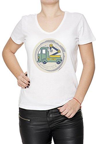 37 Met Donna V-Collo T-shirt Bianco Cotone Maniche Corte White Women's V-neck T-shirt