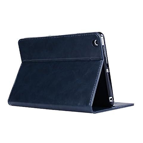 Prime PU Cuir Étui Pour iPad Mini 4, DaGeLon Luxueux Protection Housse Stand Support Coque Flip Cover avec Fonction Sommeil / Réveil Automatique Cas Portefeuille Case - ( Couleur 1 - Bleu )