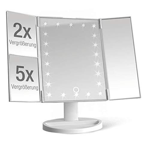 Spetebo Espejo de Maquillaje Iluminado con 22 Luces LED - Espejo de Mesa Plegable con 2 y 5 aumentos...