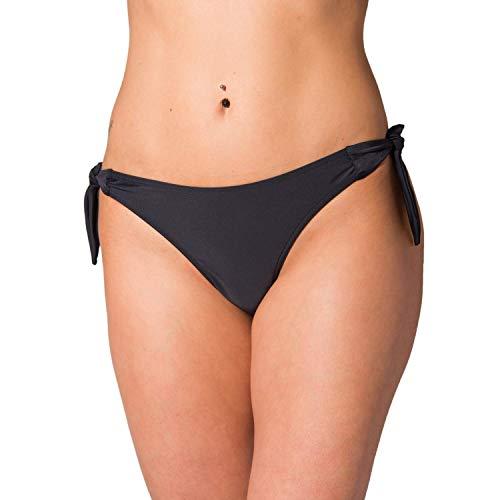 Aquarti Damen Tanga Bikinihose Seitlich Gebunden Brasilian, Farbe: Schwarz, Größe: 36 -