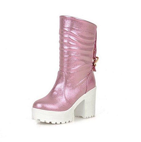 AgooLar Damen Niedrig-Spitze Ziehen auf Blend-Materialien Hoher Absatz Rund Zehe Stiefel, Pink, 38
