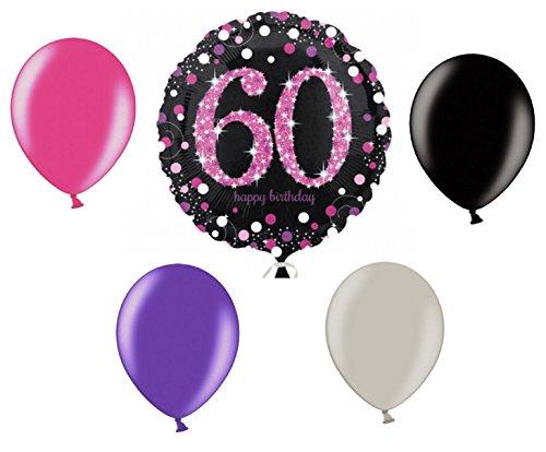 (Feste Feiern Geburtstagsdeko Zum 60 Geburtstag   5 Teile Luftballons Folienballon Pink Schwarz Violett Silber Party Deko Set Happy Birthday)