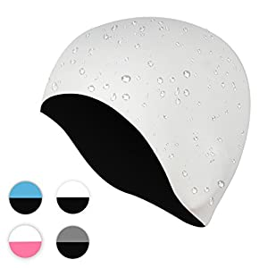 Seamless Silicone Swimming Cap, Waterproof Swimming Hat for Adults Reversible Wear It on both Sides, Bathing Caps Ideal for Training and Racing