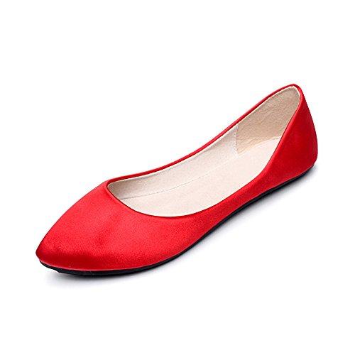 OCHENTA Femme Ballerines Plate En Tissu Robe Basique Chaussure Poiture Grande Rouge