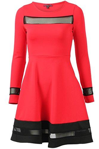Damen Langarm Mesh Paneled Skater Kleid EUR Größe 36-44 Rot