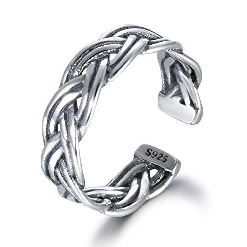 snorso Vintage Sterling Silber Ring für Frauen Double Twisted Keltischer Knoten Ewigkeit Band Ring
