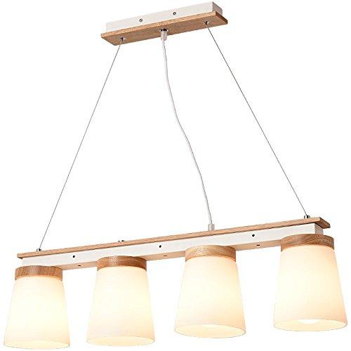 Preisvergleich Produktbild LRZZ Europäische Kreative Restaurant Lichter LED DREI Restaurant Beleuchtung Holz Modernen Minimalistischen Esstisch Lampe Nordic Kronleuchter, Kreisförmig, 3 Köpfe