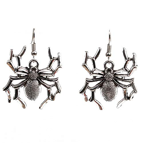 Kostüm Ohrringe Damen - BIGBOBA 1 Paar Halloween Spinne Ohrringe Halloween Kostüm Ohrringe Lustig Dekoration für Damen 5 * 3CM Silber