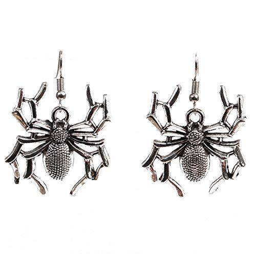 BIGBOBA 1 Paar Halloween Spinne Ohrringe Halloween Kostüm Ohrringe Lustig Dekoration für Damen 5 * 3CM Silber