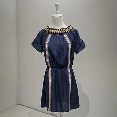 WJS-ClothingClothingEmbroidered dress, wind word collar, short sleeve waist dress, short skirt, women