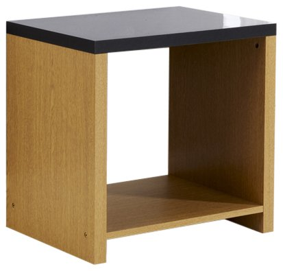 Mountrose Prague Oak End Table, Black/High Gloss