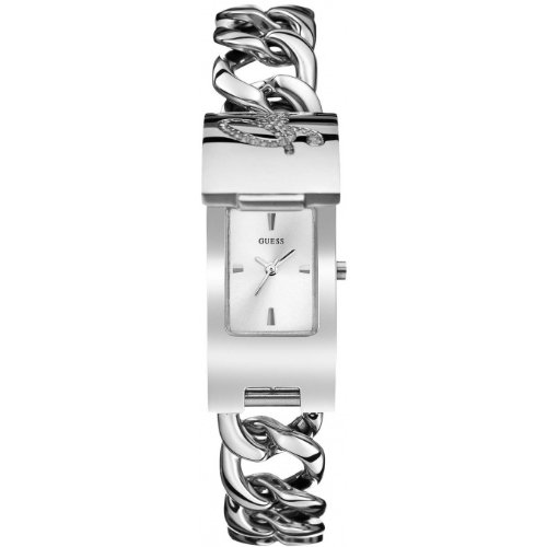 Guess Women's Quartz Watch with White Dial Analogue Display and Silver Stainless Steel Bracelet W0321L1