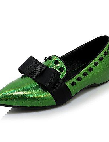 WSS 2016 Chaussures Femme-Bureau & Travail / Décontracté-Vert / Blanc / Argent-Talon Bas-Talons / Bout Pointu-Chaussures à Talons-Cuir green-us8 / eu39 / uk6 / cn39