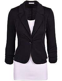 Moollyfox Casual De La Mujer De Un Solo Pecho Blázer Abrigo L Negro