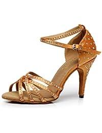 JSHOE Zapatos De Baile De Salsa Sexy Para Mujer Zapatos De Salón De Baile Latino Tango Zapatos De Tacón Alto,Gold-heeled10cm-UK3/EU33/Our34