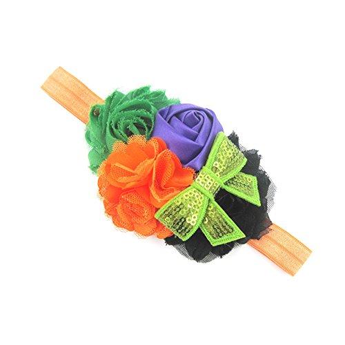 (OverDose Damen Happy Halloween Baby Mädchen Halloween Blume Nette Stirnband Bogen Elastisches Haar Kopf Haarband Fotografie Requisiten Cosplay Tanz Rave Für Festival)