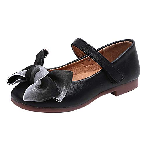 Jaysis Festliche Kinder Mädchen Ballerinas Bogen Schuhe, Zierblume Festliche Mädchen Ballerinas Schuhe mit Klettverschluss in Vielen Farben (Damen Mikrowellen Pantoffeln)