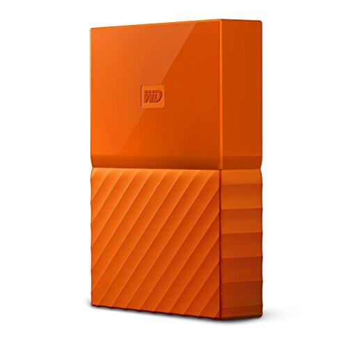 mobile 2 TB-Festplatte WD My Passport WDBYFT0020BOR-WESN (orange), mit Kennwortschutz u. Software für autom. Datensicherung