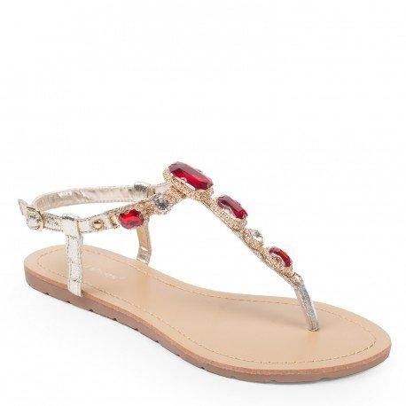 Ideal Shoes - Nu-pieds effet pailleté et incrusté de strass Venda Rouge